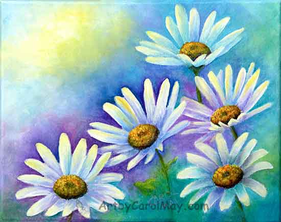 How to do a Daisy Painting with oil paints by artist by Carol May