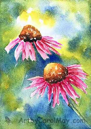 watercolor Echinecea flower on 300# Arches paper