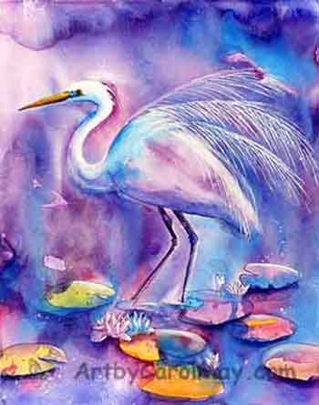 White egret and water lilies original watercolor painting done by the painting artist Carol May