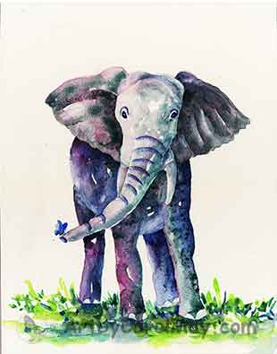 Baby Elephant and Butterfly painting by Carol May
