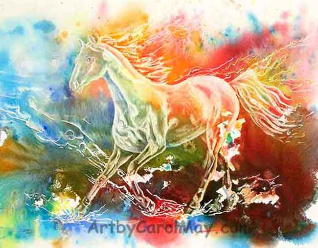Freedom, a prophetic painting of a horse by Carol May