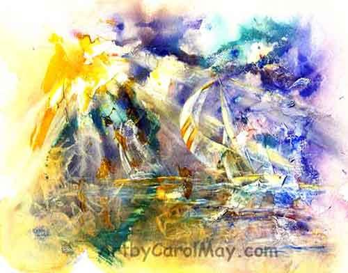 Sailboats heading towards