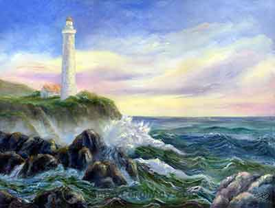 God's Lighthouse an oil seascape painting by Carol May
