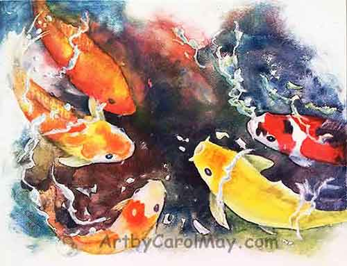Critter paintings of Koi and more done either with oils or watercolor, art by Carol May