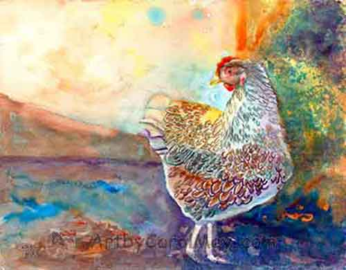 Lacey, a Blue-laced Wyandotte chicken painted in a free style with watercolor by Carol May