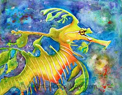 Leafy Sea Dragons are the most amazing critter. Art by Carol May