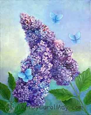 Little Blue Butterflies in oil by painting artist Carol May