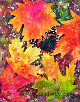 watercolor painting of a Red Admiral Butterfly by Carol May