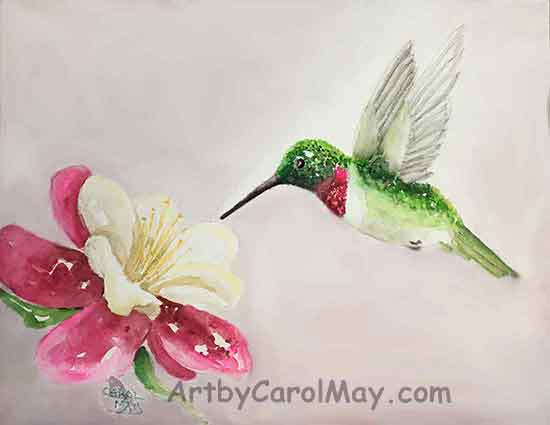 How to Paint a Hummingbird with watercolor by painting artist Carol May