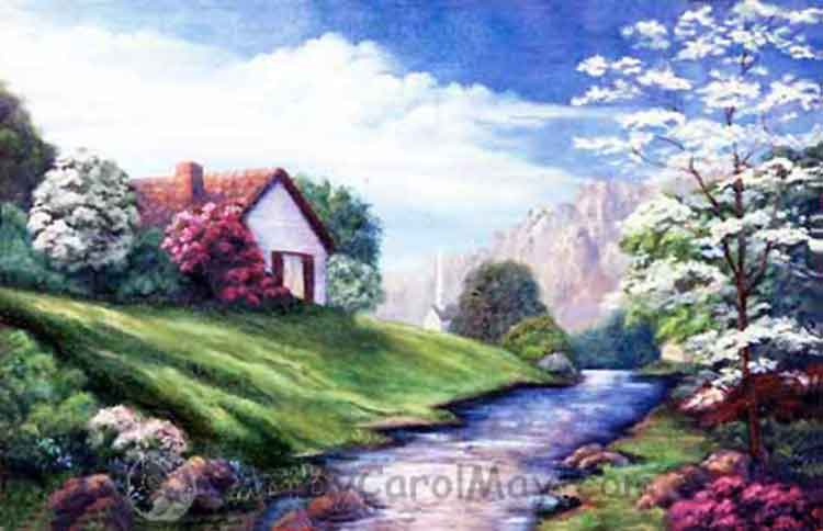 Springtime an oil painting by artist Carol May, shows how to create distance in a painting.