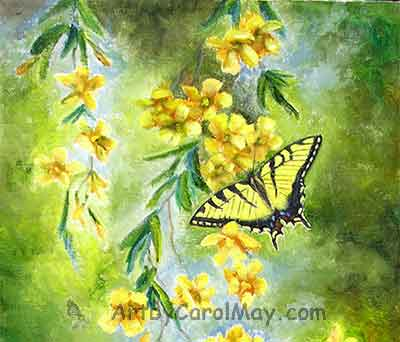 painting painting-Tiger-Swallowtail-open butterfly art by Carol May