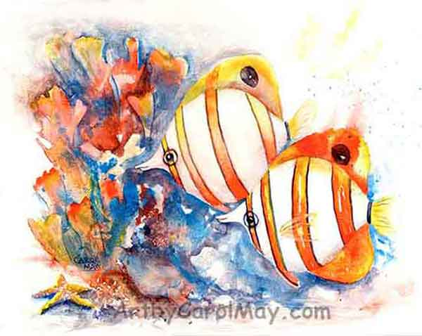 Watercolor Banded Butterfly fish painting by Carol May