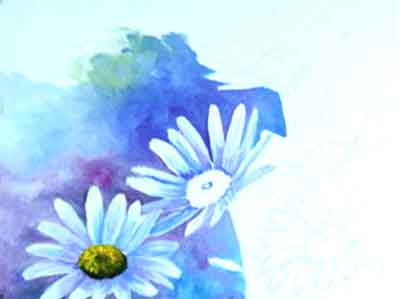Start painting the background around the daisies