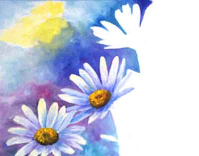 Paint some background color on the base of the daisy petals