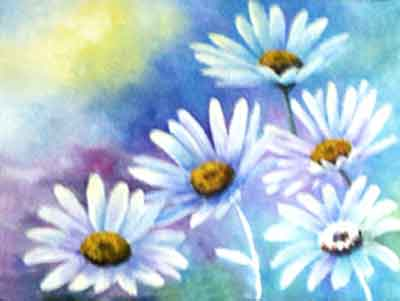 Paint the background before the white daisy petals Work dark to light in oil paintings